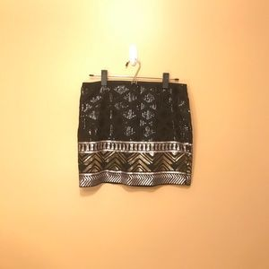 EXPRESS (like new!) black/gold sequin mini skirt